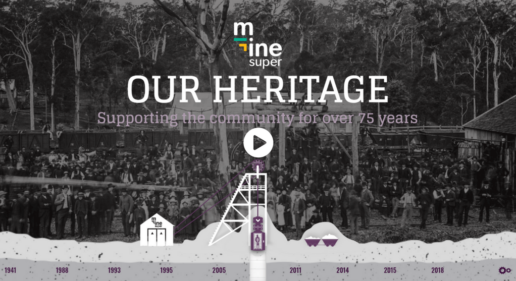 Image of miners with Mine Super logo and text: Our heritage
